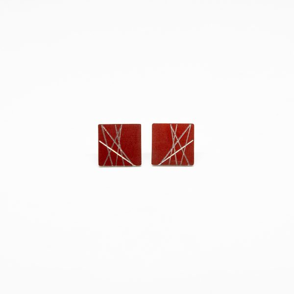 sun mini square fülbevaló piros