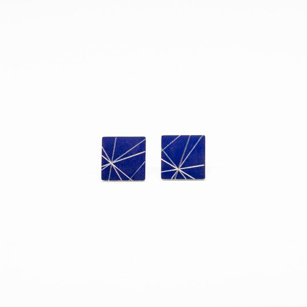 stars mini square fülbevaló kék