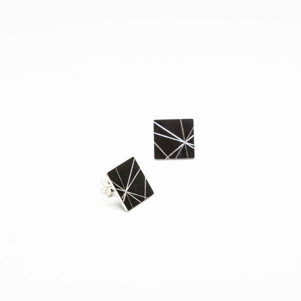 stars mini square fülbevaló fekete