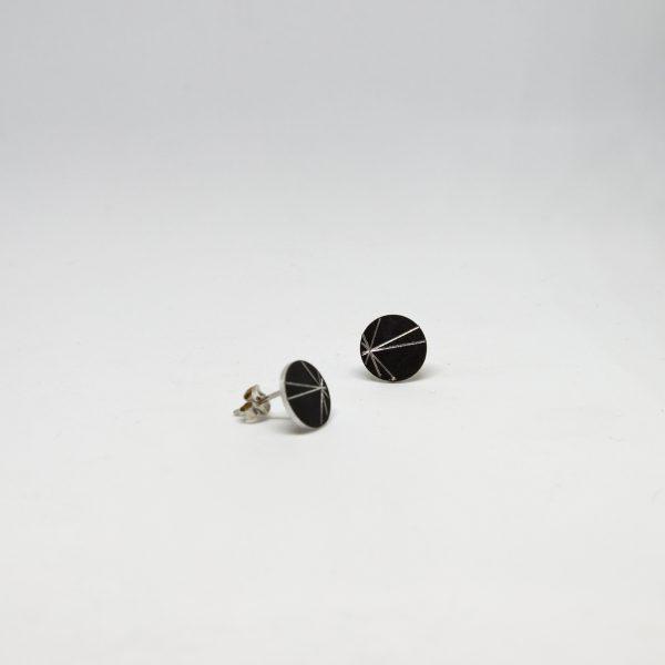 stars mini round fekete fülbevaló