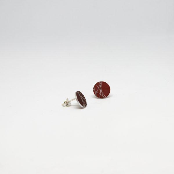 moon mini round piros fülbevaló