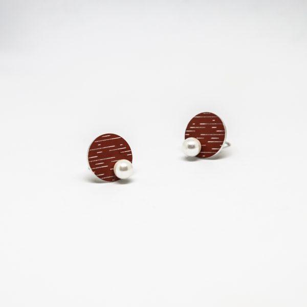 pearl mini piros fülbevaló
