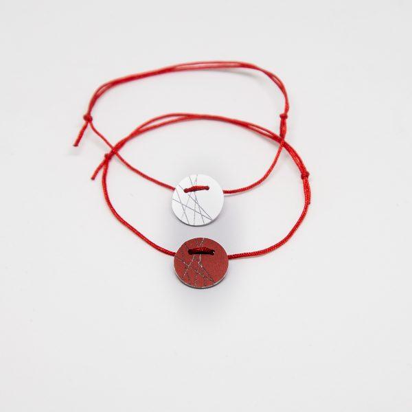 stars bracelet ezüst piros karkötő